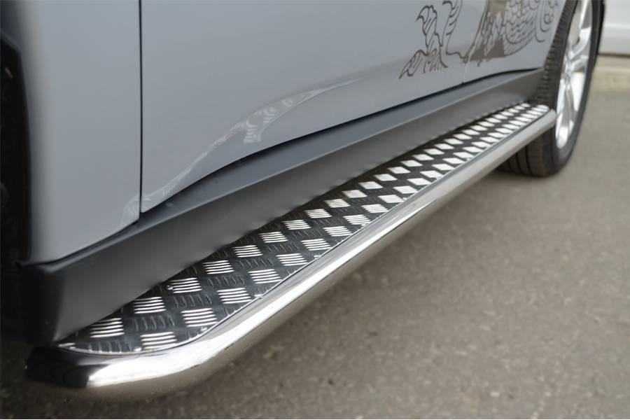 Mitsubishi Outlander 2012-2014 Пороги труба d42 с листом (Лист нерж, проф. нерж) (Вар3) MRT-00105553