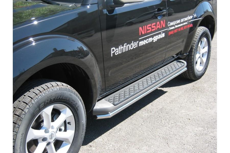 Nissan Pathfinder 2010-2013 Пороги труба d42 (вариант 3) NNT-0003553