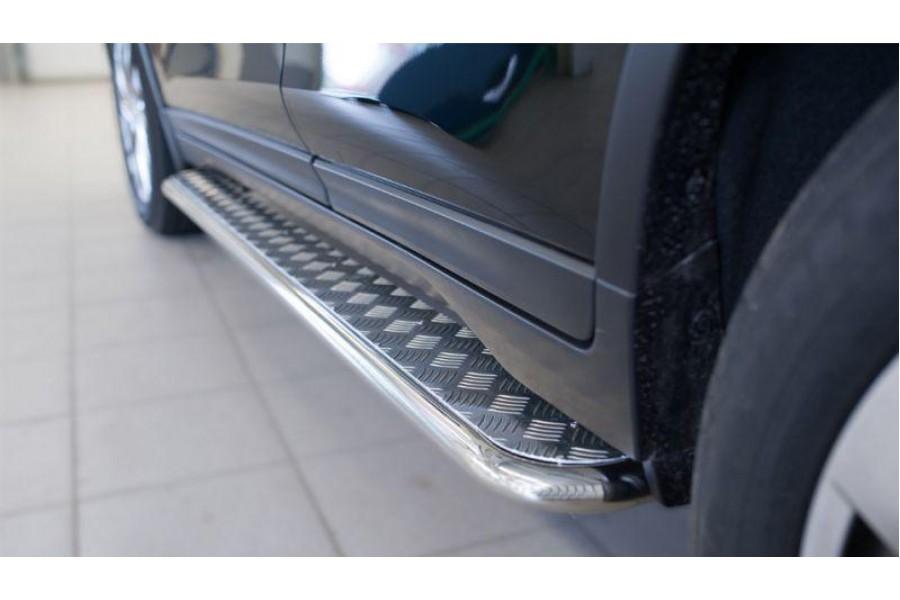 Nissan X-Trail 2015 Пороги труба d42 с листом (Лист нерж,проф.нерж)(Вариант3) NXL-0020903