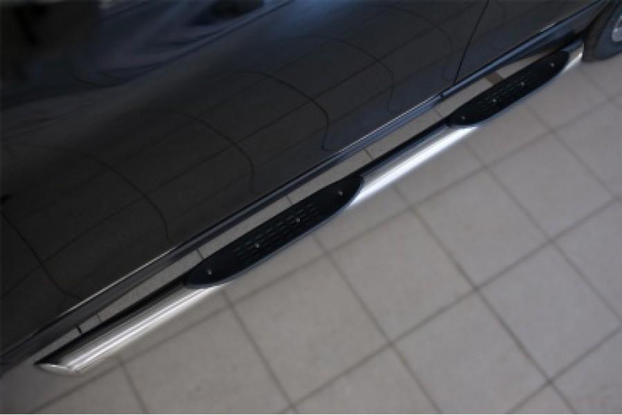 Nissan X-Trail 2015 Пороги труба d76 с накладкой (вариант 1)
