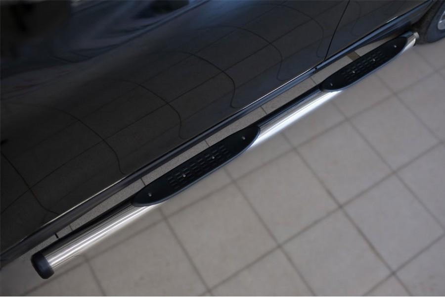 Nissan X-Trail 2015 Пороги труба d76 с накладкой (вариант 2)