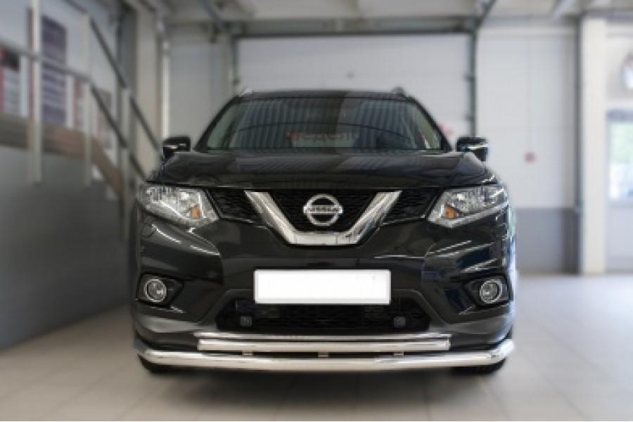 Nissan X-Trail 2015 Защита переднего бампера d63 (секции) d42 (дуга)