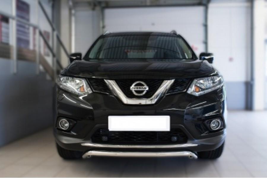 Nissan X-Trail 2015 Защита переднего бампера d42 (волна)