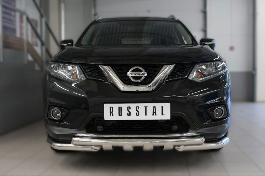 Nissan X-Trail 2015 Защита переднего бампера d63 (дуга) d63 (уголки)+клыки