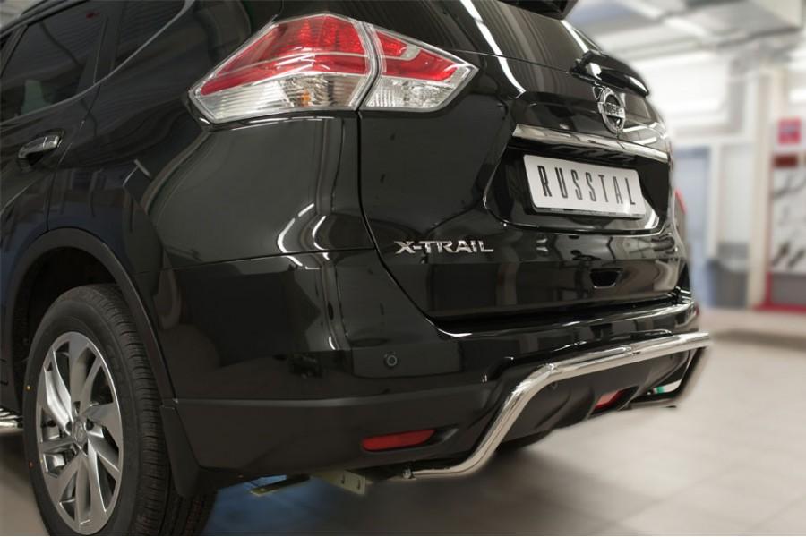 Nissan X-Trail 2015 Защита заднего бампера d42 (волна)