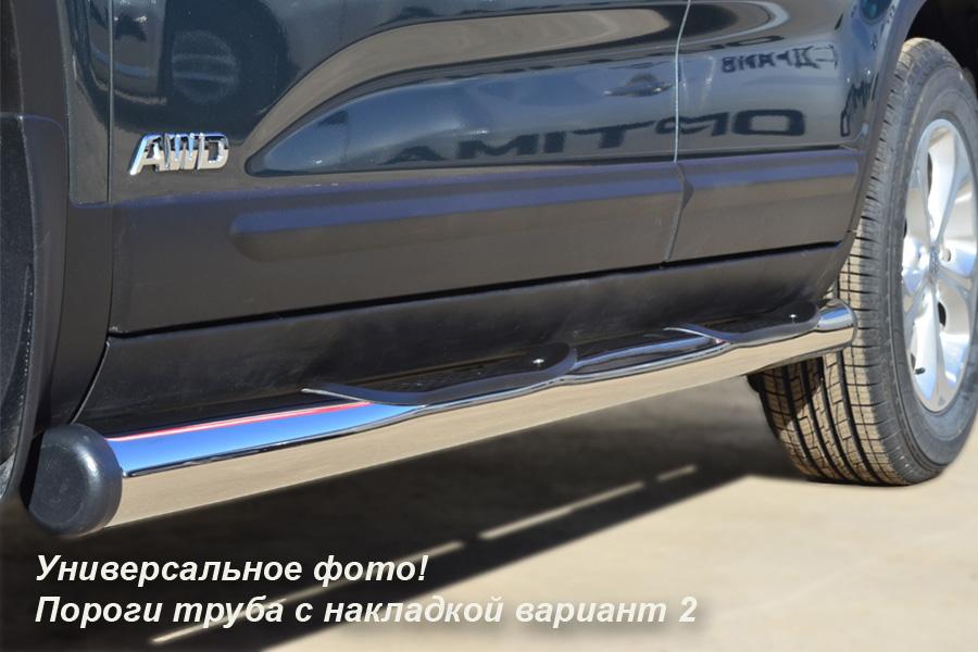 Mitsubishi Pajero Sport 2010-2012 пороги труба d76 с накладками (вариант 2) PST-0009252