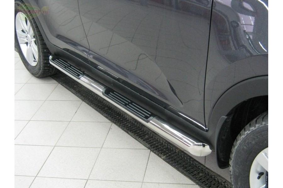 Mitsubishi Pajero Sport 2010-2012 пороги труба d76 с накладками (вариант 3) PST-0009253