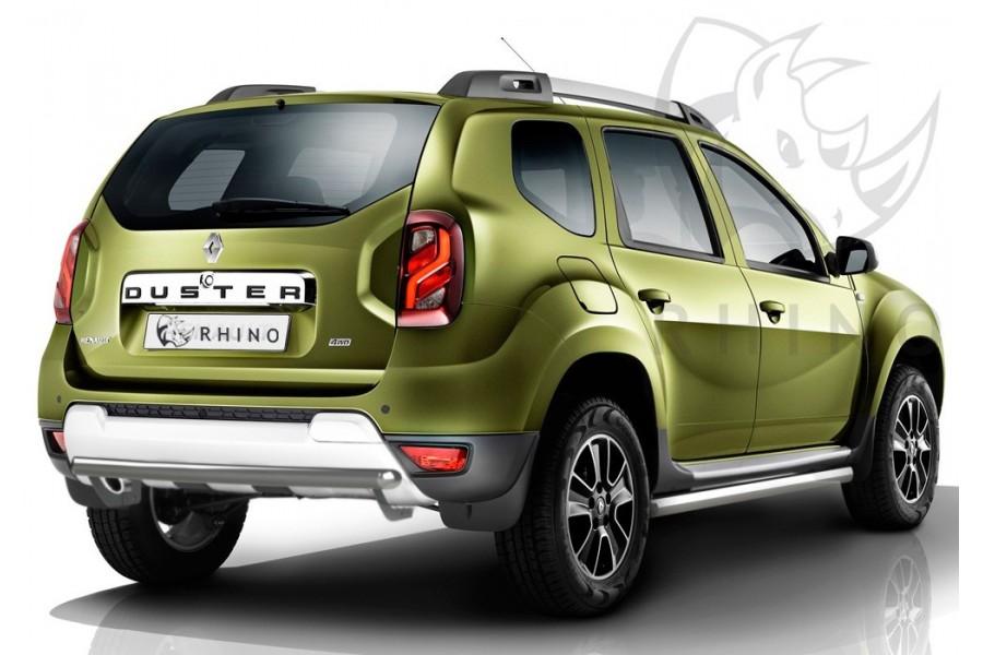Renault Duster 2015- Защита заднего бампера d63 ч. сталь сер. (дуга) RDZBR-002184SER