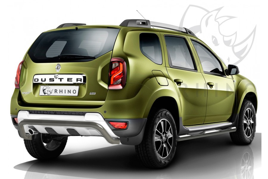 Renault Duster 2015- Защита заднего бампера  d63 ч. сталь сер. (волна) RDZBR-002188SER
