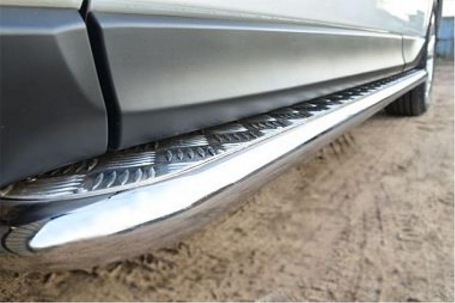 Subaru Forester 2013 Пороги труба d42 с листом (Лист алюм,проф.нерж)(Вариант1) (без брызговиков) SUFL-001602