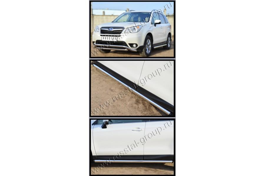 Subaru Forester 2013 Пороги труба d63 (вариант 2) (без брызговиков) SUFT-0015992