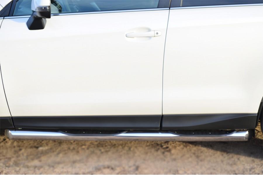 Subaru Forester 2013 Пороги труба d76 с накладкой (вариант 1) (без брызговиков) SUFT-0016001
