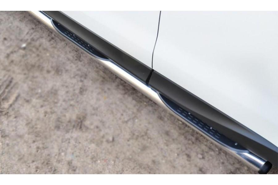Subaru Forester 2013 Пороги труба d76 с накладкой (вариант 2) (без брызговиков) SUFT-0016002
