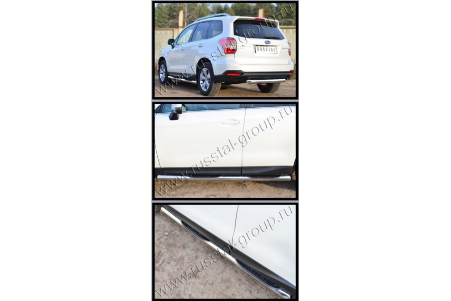 Subaru Forester 2013 Пороги труба d76 с накладкой (вариант 3) (без брызговиков) SUFT-0016003