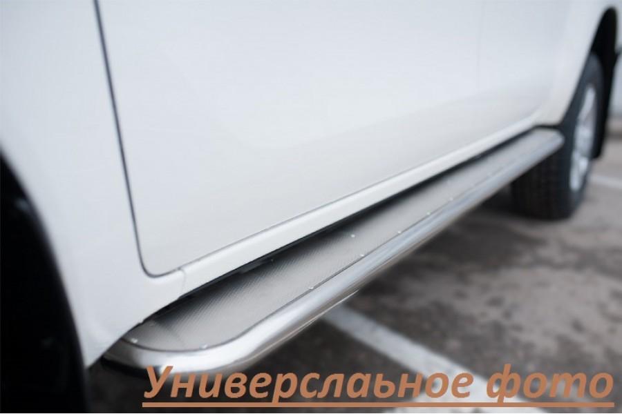 Toyota Hilux 2015 Пороги труба d63 с листом (вариант 3)