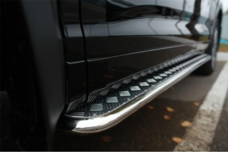 Toyota Highlander 2014- Пороги труба d42 с листом (Лист нерж,проф.нерж)(Вариант3) THRL-0019203