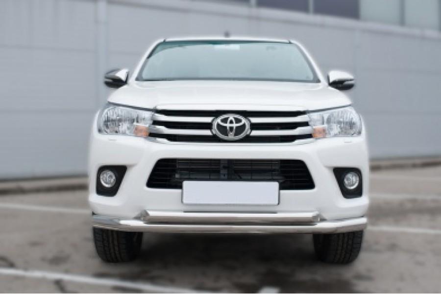 Toyota Hilux 2015 Защита переднего бампера d76 (секции) d63 (дуга)