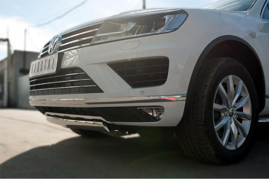 VolksWagen Touareg 2014- Защита переднего бампера d75х42 (дуга) короткая