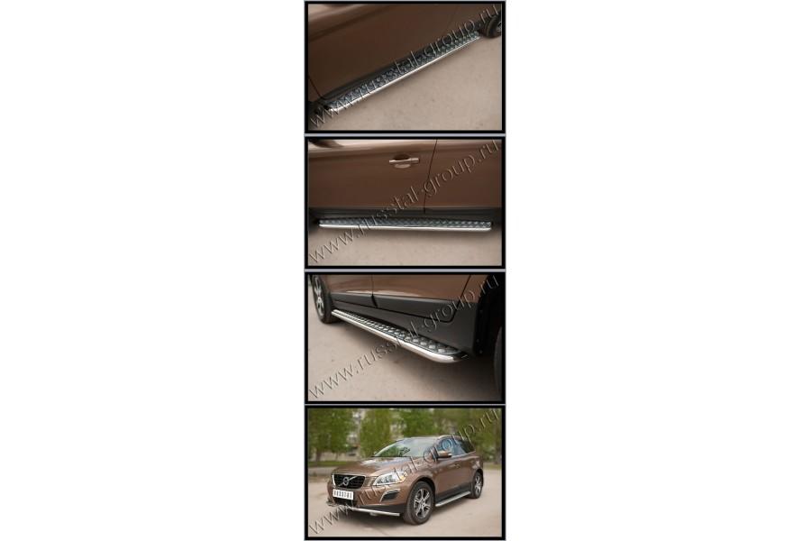 Volvo XC 60 2008-2013 Пороги труба d42 с листом (вариант 2)