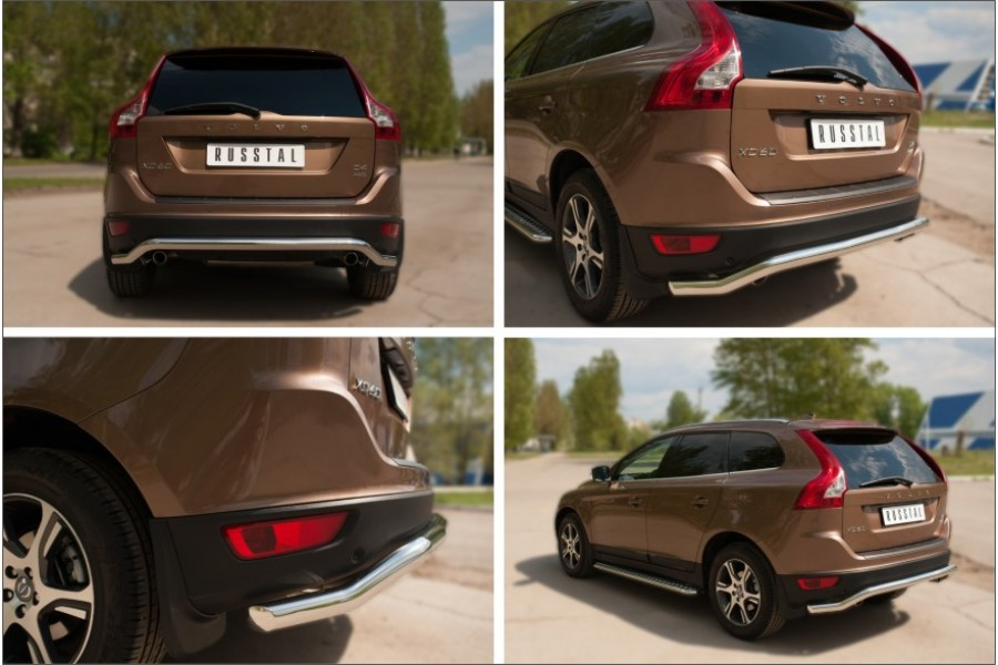 Volvo XC 60 2008-2013 Защита заднего бампера d63(волна)
