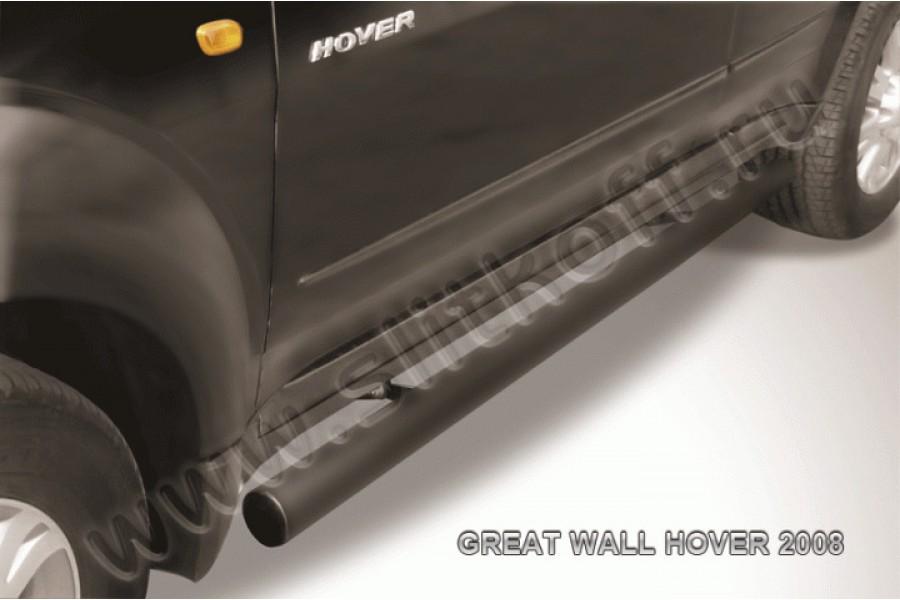 Пороги d76 труба черные из стали с полимерным покрытием (черное или серебристое покрытие)