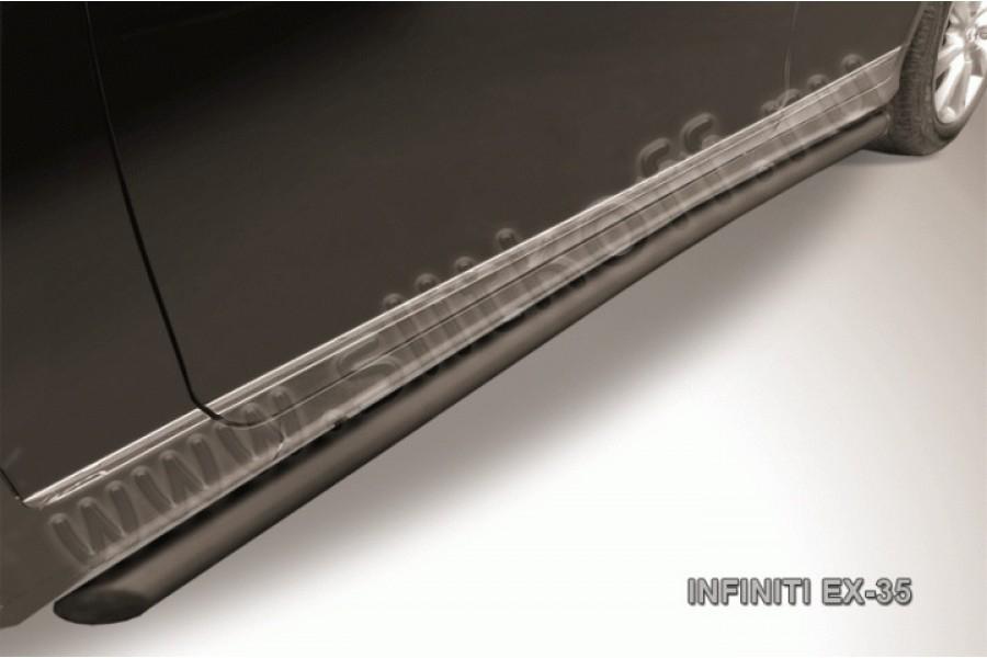 Пороги d57 с гибами черные из стали с полимерным покрытием (черное или серебристое покрытие)