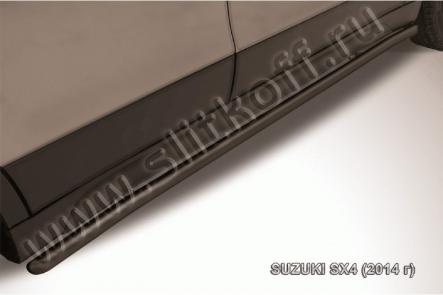 Пороги d42 с гибами из стали с полимерным покрытием (черное или серебристое покрытие)