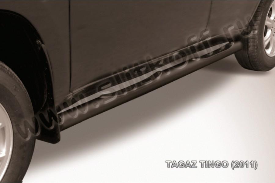 Пороги d76 с проступями черные из стали с полимерным покрытием