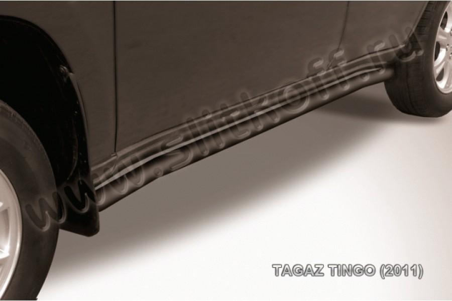 Пороги d57 с гибами черные из стали с полимерным покрытием