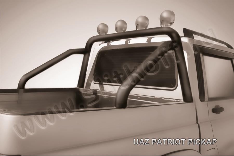 Дуга в кузов d76 с креплениями под ПТФ из стали с полимерным покрытием (черное или серебристое покрытие)