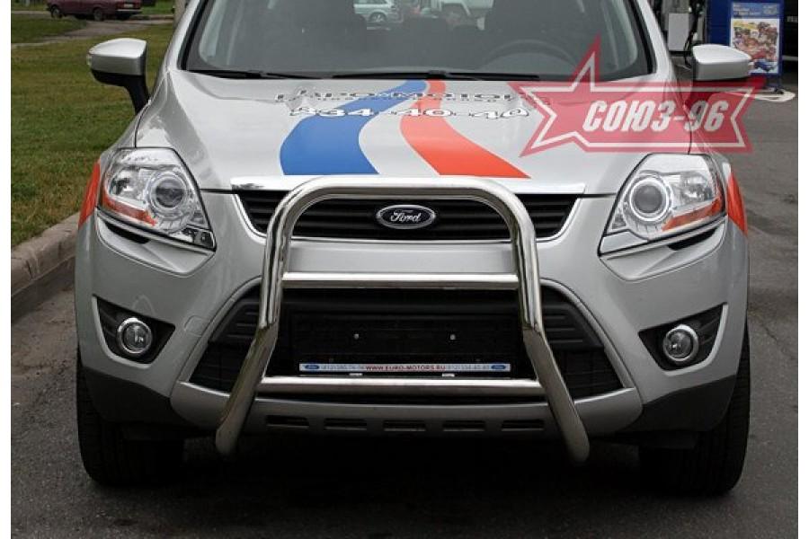 """Решётка передняя мини d 60 высокая с 2-мя перемычками d 42 """"Ford Kuga"""" 2008-"""