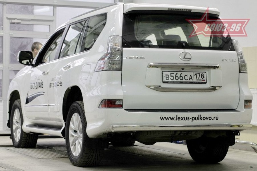 Защита задняя 75х42 овальная,Lexus GX460 2014-