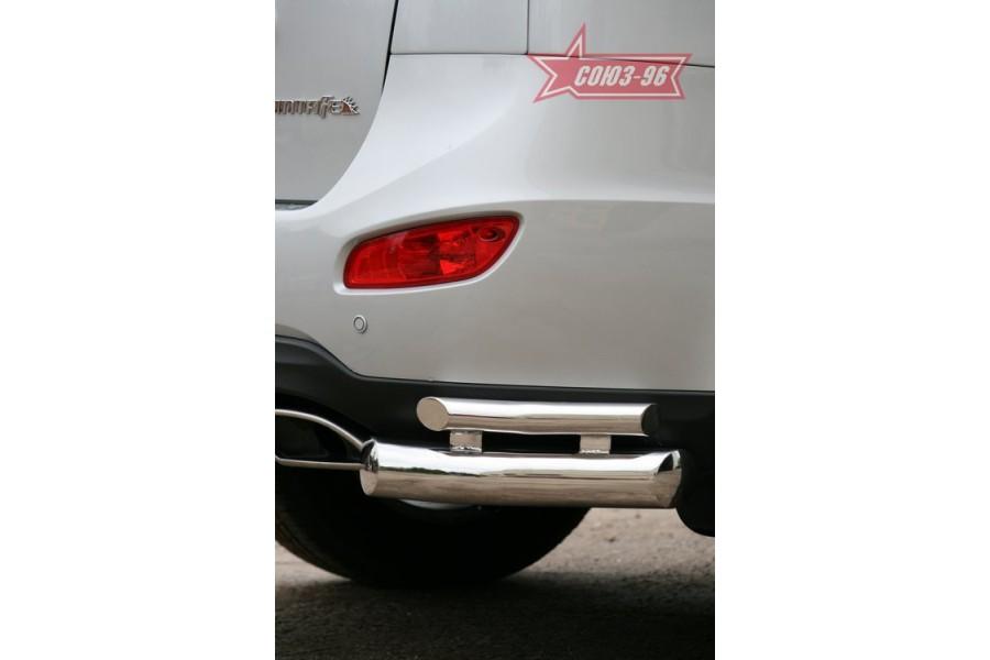 """Защита задняя """"уголки"""" d 76/42 двойные (компл 2шт.) """"Hyundai Santa Fe"""" 2010"""