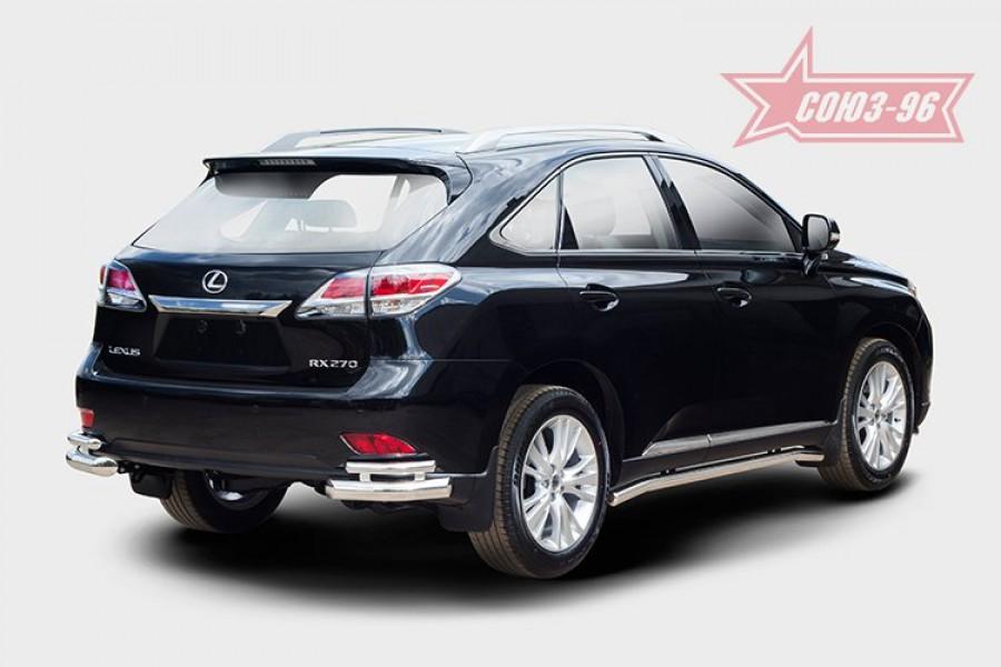 Защита задняя уголки d76/42 двойные,Lexus RX 270/350/450h 2012-
