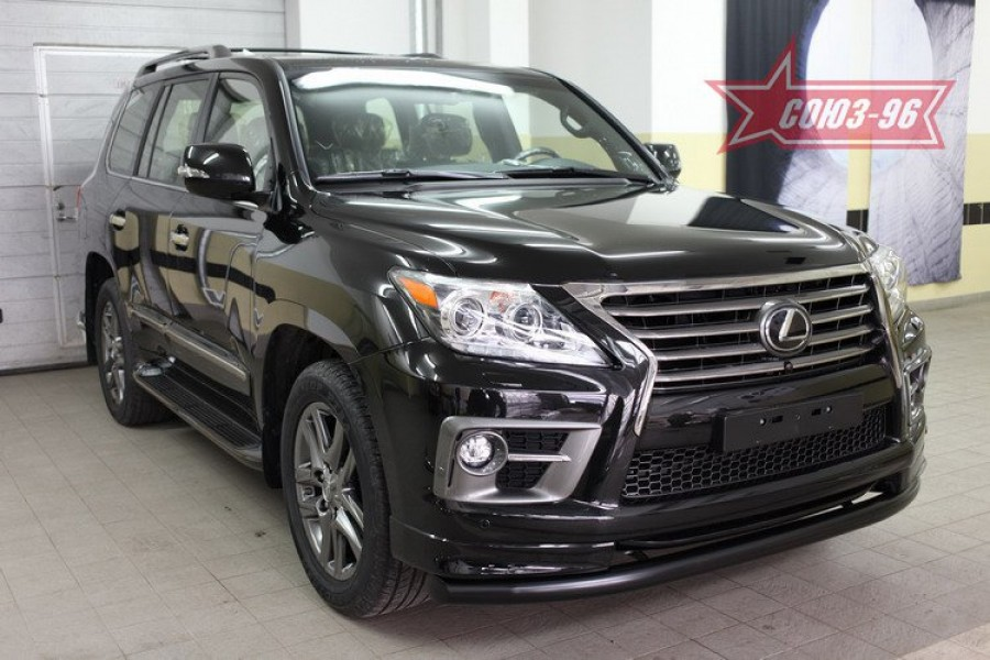 Защита переднего бампера труба d76 черная,Lexus LX570 Sport 2013-