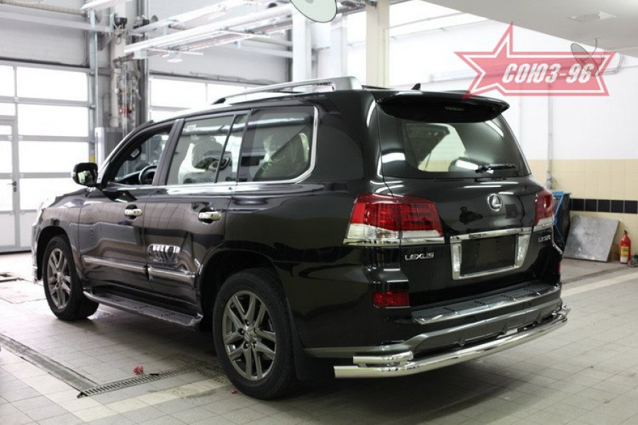 Защита задняя d76/42 двойная,Lexus LX570 Sport 2013-