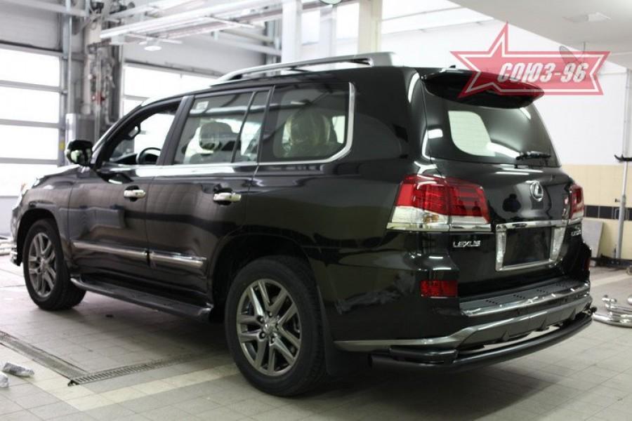 Защита задняя d76/42 двойная черная,Lexus LX570 Sport 2013-