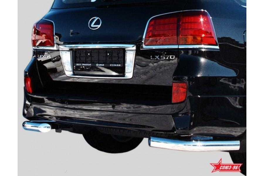 """Защита задняя """"уголки"""" d 76 одинарные (компл 2шт.) """"Lexus LX 570 Sport Package&am"""