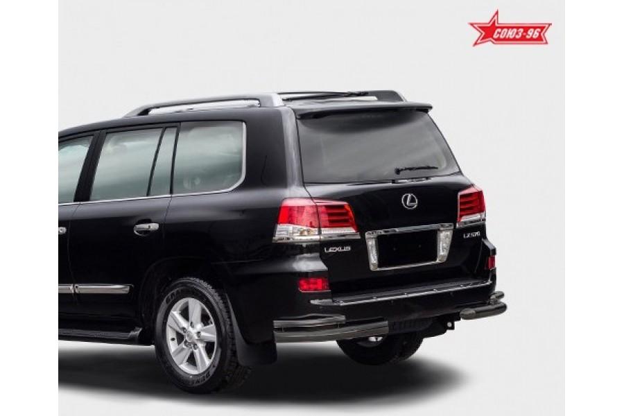 Защита задняя уголки d76/42 двойные черные,Lexus LX570 2012-