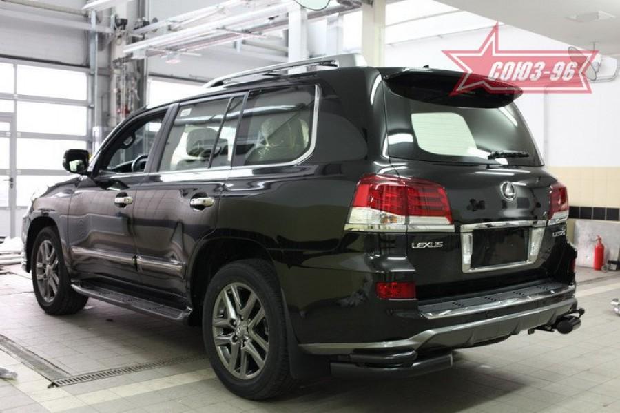 Защита задняя уголки d76/42 двойные черные,Lexus LX570 Sport 2013-