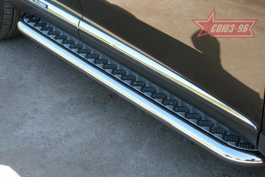 Пороги с алюминиевым листом d 60 прямые (компл 2шт)