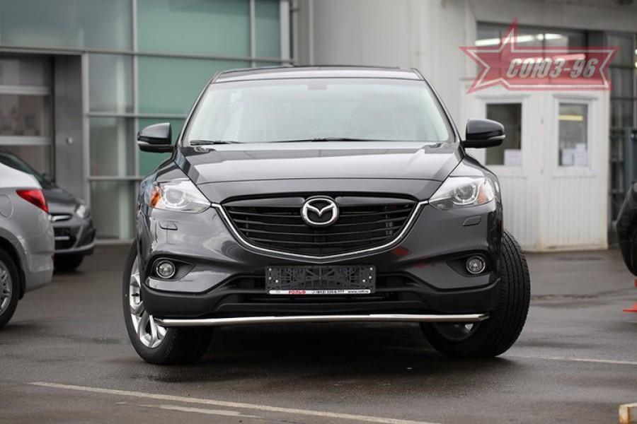 Защита переднего бампера труба d42 Premium long,Mazda CX-9 2013-
