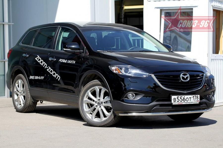 Защита переднего бампера труба d42 Long,Mazda CX-9 2013-