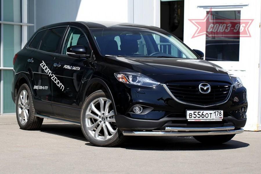 Защита переднего бампера труба d60/42 двойная,Mazda CX-9 2013-