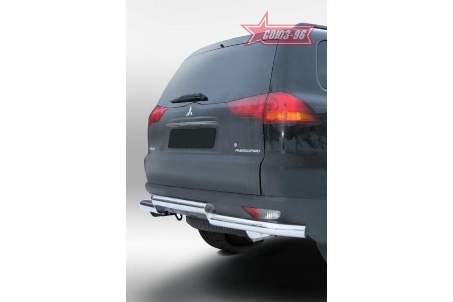 """Защита задняя d 76/76 двойная """"Mitsubishi Pajero Sport"""" 2008-"""