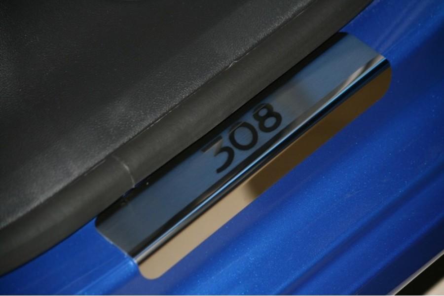 """Накладка на внутренние пороги широкая с логотипом """"Союз-96"""" (компл. 4шт.),Peugeot 308 5D/SW 2008-"""