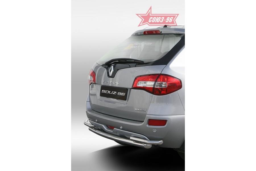 """Защита заднего бампера d 60/42 двойная """"Renault Koleos"""" 2008-"""