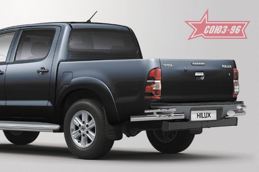 """Защита задняя уголки двойные (компл 2шт) d 76/42 """"Toyota HiLux"""" 2010-"""