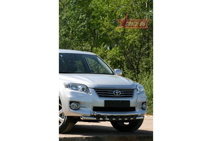 """Защита переднего бампера d 60/60 двойная с декор. элементами """"Toyota RAV-4"""" 2010-"""