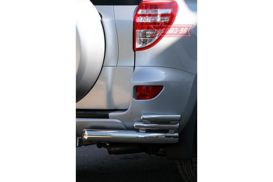 """Защита задняя «уголки» d 76/42/42 (компл 2шт) тройные """"Toyota RAV-4"""" 2010-"""